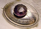 Victorian Engarved Silver Dome Pin Brooch with Purple Glass Stone