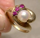 10K Cutured Pearl and Synthetic Rubies Ring 1940s 1950s 10 K