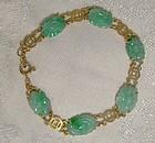 18K Carved Jade Jadeite Bracelet - 1920s Vintage Jadite