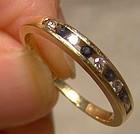 14K Yellow Gold Birks Blue Sapphire and Diamonds Row Ring 1970s 14 K