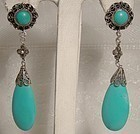 Silver Filigree Blue Turquoise Dangle Tear Drop Pierced Earrings 1900