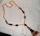 Art Deco French Jet Orange Cut Glass Beaded Flapper Sautoir Necklace