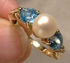 14K Cultured Pearl Blue Topaz Hearts and Diamonds Ring 1980s 14 K