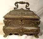 Renaissance Style Cast Brass Jewel Chest Box Casket 1960s