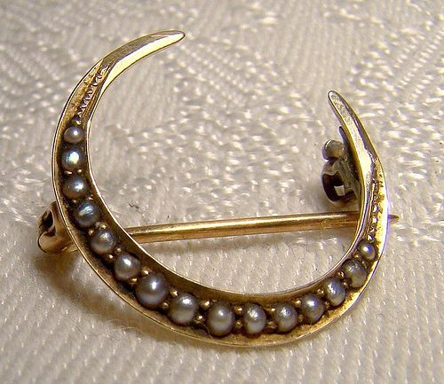 Antique Victorian Brooch Pin Brass Gold Wash Crescent Moon Crystal Paste Stones Honeymoon Pin
