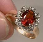 14K Red Citrine Diamond Garland Ring 1970s - Size 6-1/2