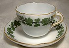 Meissen Full Green Vine Demitasse Cup & Saucer - Scalloped with Gold