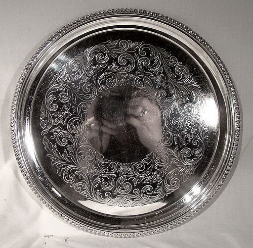 birks regency round silver plated engraved serving tray 1940 1950