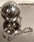 Art Deco Sterling Silver Tea Ball Strainer with Chain and Ring 1920s