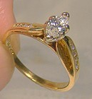 14K Marquise Diamond Engagement Ring 1960s 1970 14 K Size 5-1/2