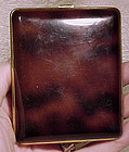 Enamel Cigarette Case with Mottled Amber Decoration 1930s Art Deco