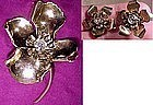 GILT STERLING RS FLOWER COAT PIN & EARRINGS c1930s