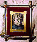 19thC FRAMED WATERCOLOUR PICTURE of CHILD c1860-80