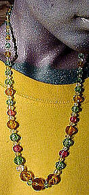Art Deco GRADUATED MULTI-COLOUR CRYSTAL NECKLACE c1920s