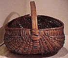 Fine ASH SPLINT BUTTOCKS BASKET c1900