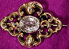 10K VICTORIAN BROOCH with HAND CUT STONE c1880