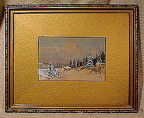 CANADIAN WINTER SCENE WATERCOLOUR in FRAME c1920s-30s