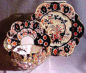 Wileman Shelley IMARI FLUTED TRIO c1890s