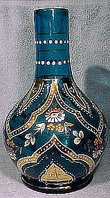 BOHEMIAN ELECTRIC BLUE ENAMELLED GLASS VASE c1890