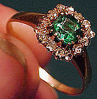 Georgian 14K GLASS EMERALD & DIAMONDS RING c1780-1800