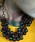 Cool CELLULOID & WOOD BEAD NECKLACE c1930s