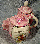 19thC IRISH PINK LUSTRE CHINA CONDIMENT or CRUET SET