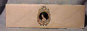 LINEN FINISH GLOVE BOX w/ GILT METAL CELLULOID PORTRAIT