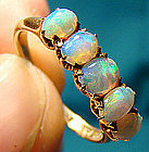 Superb 14K OPALS ROW RING - Great Colour c1900