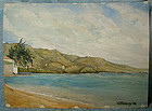 GEORGE CULLEY WATERCOLOUR PAINTING - House on Lake