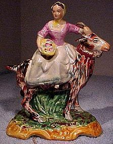 STAFFORDSHIRE GIRL ON A GOAT FIGURE c1840-60