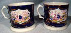 Pair 19thC GAUDY WELSH CANNS or MUGS c1820-50