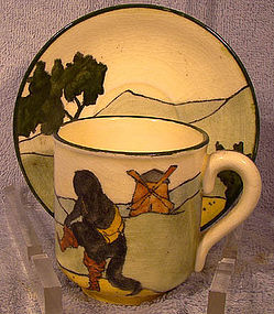 Austrian PUSS IN BOOTS HANDPAINTED CUP & SAUCER c1900