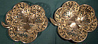 Pair Walker & Hall STERLING SHAMROCK MINT DISHES 1906