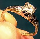 Art Deco 14K & 18K DIAMOND SOLITAIRE RING c1930s
