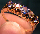 Victorian 18K DIAMONDS & SAPPHIRES ROW RING c1895