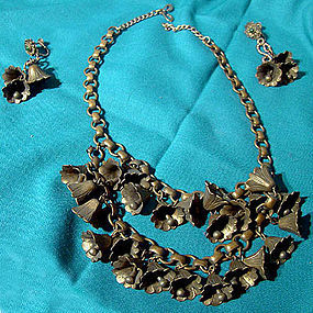 Cool 1930s BRASS BELLS NECKLACE & EARRINGS