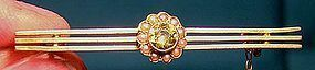 Edwardian 10K PERIDOT SEED PEARLS BAR PIN c1905-10
