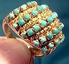 18K HANDMADE TURQUOISE ROWS RING