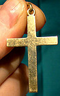 Plain 14K YELLOW GOLD CROSS PENDANT