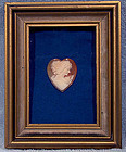 HEART SHAPED SHELL CAMEO in PICTURE FRAME c1930s