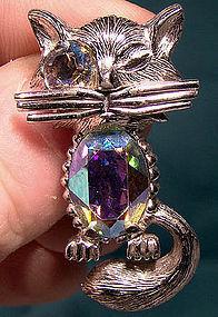 Rare Vintage SHERMAN WINKING CAT FIGURAL PIN