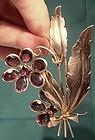 Large 1930s GILT STERLING PURPLE GLASS COAT or FUR PIN