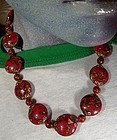 Cool RED & GOLD MURANO GLASS NECKLACE - NOS c1930s-50s