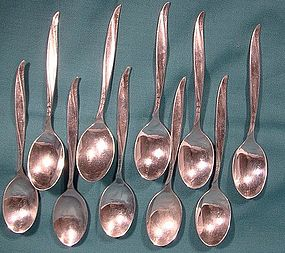 10 International PINE SPRAY STERLING DEMITASSE SPOONS