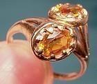 Vintage Edwardian 10K Rose Gold TOPAZ RING c1910-20