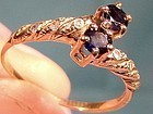 Fancy 10K CROSSOVER SAPPHIRES and DIAMONDS RING