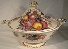 MASONS Red Multicolor FRUIT BASKET COVERED ENTREE DISH