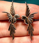 Stylish Retro STERLING SILVER BIRD EARRINGS c1940s-50s
