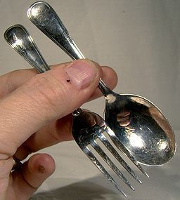 Birks SAXON Sterling BABY SPOON and FORK SET