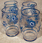 4 Czech HAND PAINTED FLOWER GLASSES c1920